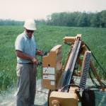 (click to enlarge)Joseph Roy in Mid-80's         operating a new   Directional Drilling Machine